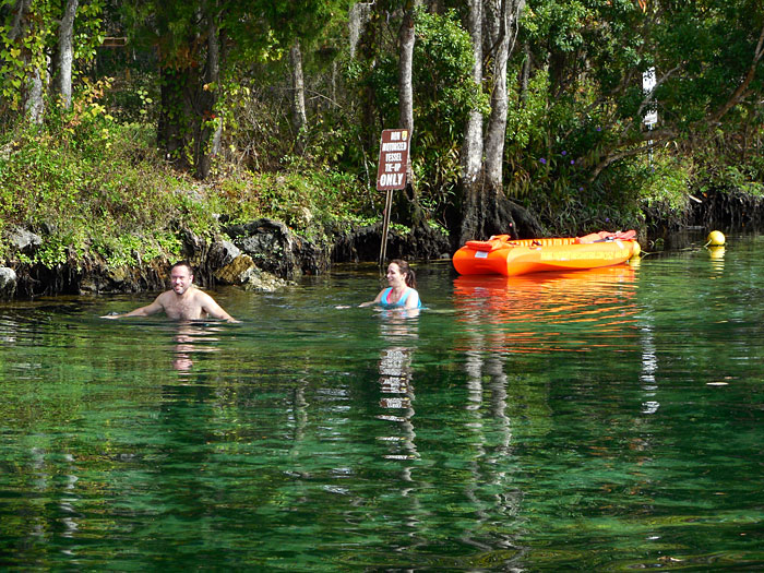 Kayaking and Swimming in Three Sisters Springs